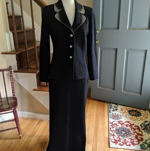St. John Evening Black Knit Skirt Suit